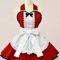 Alice in Wonderland Christmas Apron- Red