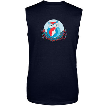 Grateful Dead - Steal Your Face Owl Navy Adult Tank Top