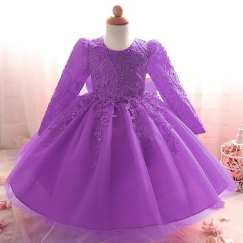 Retail Lace Cute Little Baby Party Gown Dress Tassel Fashionable Kid Girls Wedding Dress With Big Bow L8812XZ
