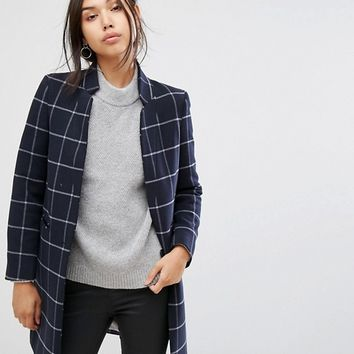 Gianni Feraud Slimline Checked Wool Blend Coat with Upturned Collar at asos.com
