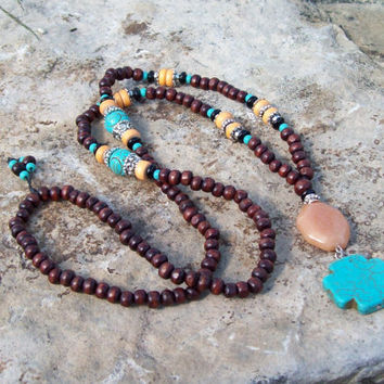 Turquoise Howlite Cross and Red Aventurine Pendant Necklace - Bohemian Long Necklace - Hippie - Southwest