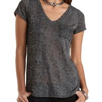 Marled V-Neck Pocket Tee by Charlotte Russe