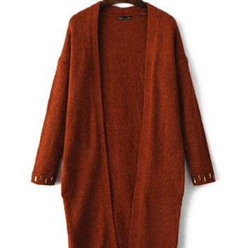 Loose V-Neck Beaded Cuffs Long Knitted Cardigan