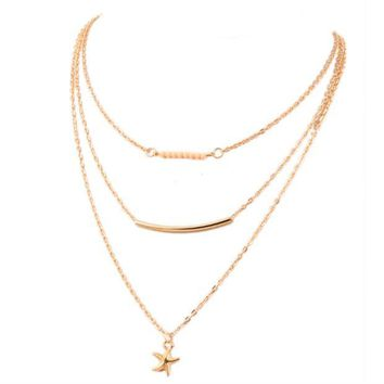 ONETOW Starfish necklace multi - layer clavicle chain bead necklace