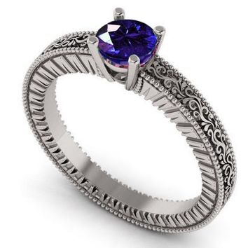 White Gold Solitaire Filigree Sapphire Ring Unique Blue Sapphire Engagement ring Milgrain Ring 18K Christmas Ring