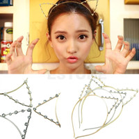 Fashion Women Girls Cat Ears Pearl Rhinestone Alloy Headband Hair Band Cute Hot