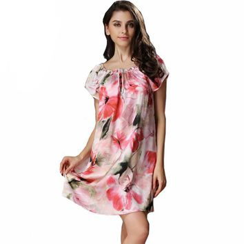 100% Satin Silk Spring Summer Ladies Women Strap Nightdress Short Sleeve Nightgowns Women Chemise Sexy