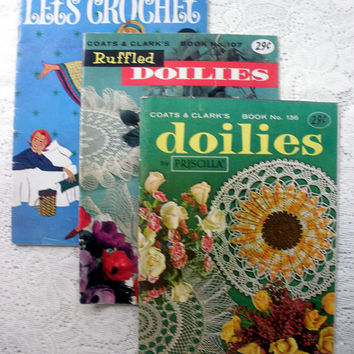 Crochet Books - Lot of 3 - Coats & Clark's and Let's Crochet Vintage