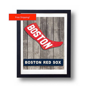 1908 Vintage Boston Red Sox Jersey Logo Poster Man Cave  Baseball MLB Gift for Him Fathers Day Art Framed Poster