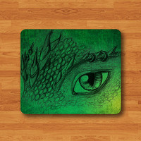 Green Art Dragon Eye Mouse Pad Desk Pad Fabric Drawing Fire Legend Monster MousePad Personalized Rectangle Pad Matt Office Gift Computer Pad