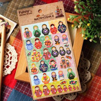 1Sheet DIY Funny Matryoshka Russian Doll Photo Seal Scrapbook Paper PVC Sticker Vintage Stamp Deco Stickers Stationery H0136