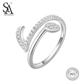 SA SILVERAGE 925 Sterling Silver Wedding Rings for Women Fine Jewelry Adjustable Musical Notes Silver Rings Women