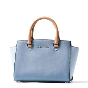 NWT MICHAEL Michael Kors Selma Blue Colorblock Leather Medium Satchel Bag NWT