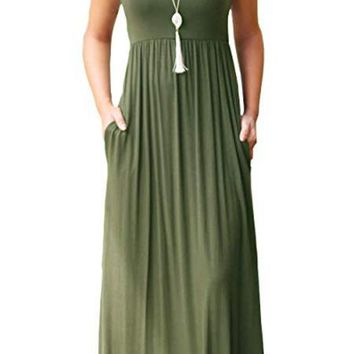 10 colors casual vest long dress with pocket summer ladies sleeveless tunic beach dress Europe and the United States hot selling sundress