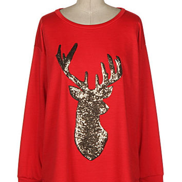 Red Long Sleeve Sequin Reindeer Shirt
