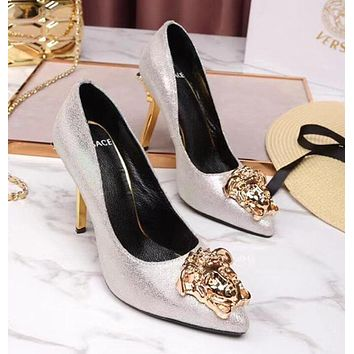 Versace Summer Popular Sexy Women Stylish Pure Color Leather Stiletto Heel Pointed High Heels Silvery I13174-1
