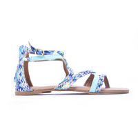 Aqua Tribal Strap Over Sandals