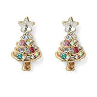 Delicate Christmas Tree Earrings Multi