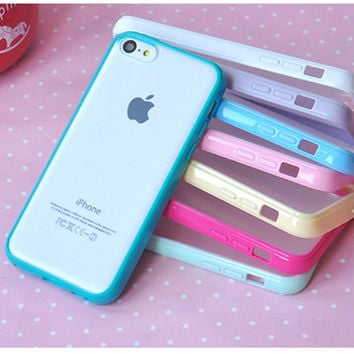 10 Colors Clear Matte Case For Coque iPhone 5c 4 6 6s 7 7plus Case Silicone+PCBack Carcasa For Capinha Para iPhone 5c case Funda