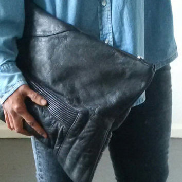 large leather clutch,recycled leather clutch, black leather, large leather pouch, make up, oversized pouch, ipad, kindle, tablet, manbag