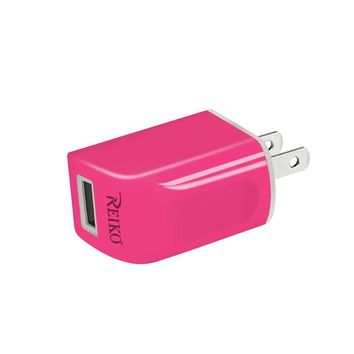 Reiko REIKO IPHONE 6 1 AMP PORTABLE TRAVEL ADAPTER CHARGER WITH CABLE IN HOT PINK