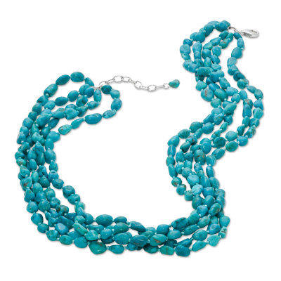 """Turquoise Five Strand Necklace in Sterling Silver - 20"""" - View All Necklaces - Zales"""