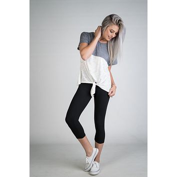 Charcoal and White Color block Front Tie Top