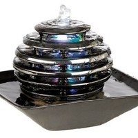 Metallic Chrome LED Light Table Fountain
