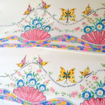 2 Vintage Cutter Pillowcases Liquid Embroidery Fabric Paint Butterflies Flowers, multi colour crochet lace trim - for crafts, art, sewing