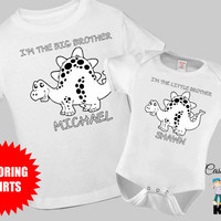 I'm the Big Brother Little Brother Dinosaur Coloring Matching Sibling / Toddler Tshirt / Kids Tshirt Sibling Set