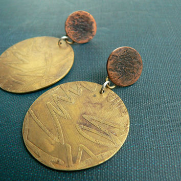 metal etching brass earrings etched disk mixed metal artisan jewelry copper