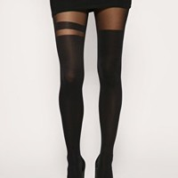 Black Over The Knee Stripe Tights at ASOS