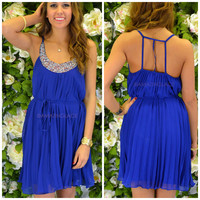 Carsyn Cobalt Blue Beaded Dress