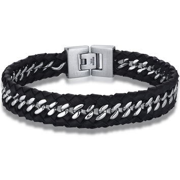 Braided Leather and Stainless Steel Intersecting Bracelet