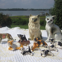 Vintage Cat Figurines Lot Cat Collectibles Bone China Tiger Collectible Kitten Miniatures Siamese Cat