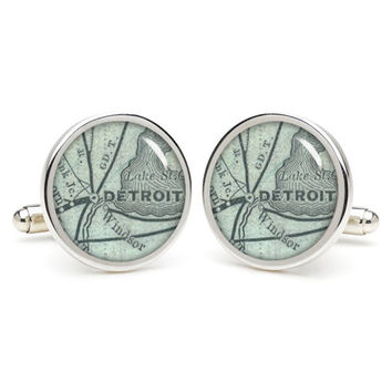Detroit  cufflinks , wedding gift ideas for groom,gift for dad,great gift ideas for men,groomsmen cufflinks,