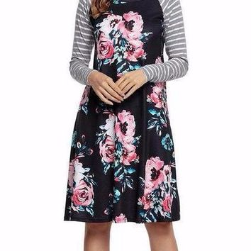Women's Black Contrast Striped Sleeve and Floral Print Long Sleeve Shift Dress