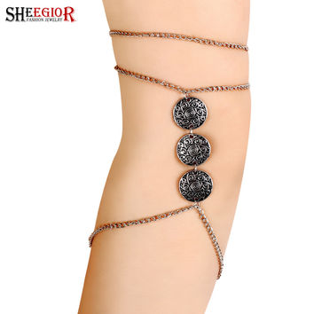Bohemian Vintage Silver Plated Coin Chain Armlet Upper Arm Cuff Fine Jewelry Armband Bracelets & Bangles For Women Beach Jewelry