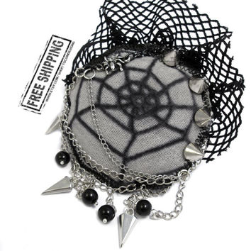 Gothic brooch - gothic jewelry - gothic jacket spider brooch gothic lolita accessories halloween brooch deathrock goth clothing psychobilly