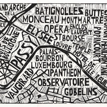 Typographic Linocut Map of Paris Arrondissements by Abigail Daker
