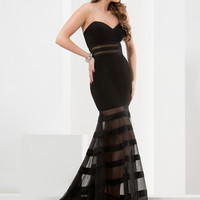 Jasz Couture 5797 Striped Sheer Back Formal Prom Dress