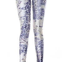 Blue And White Middle Earth Map Leggings Design 202