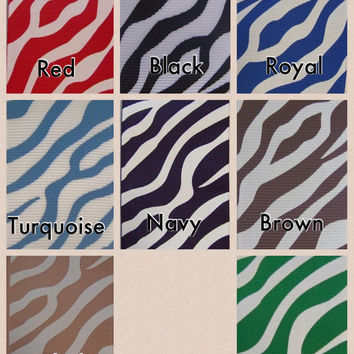 LARGE Uniform School Color Zebra Layer Ribbon Hair Bow Karens Creations