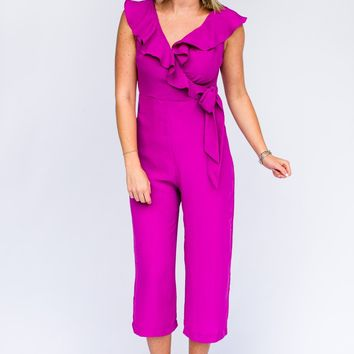 Keep Your Guard Up Ruffle Jumpsuit in Orchid