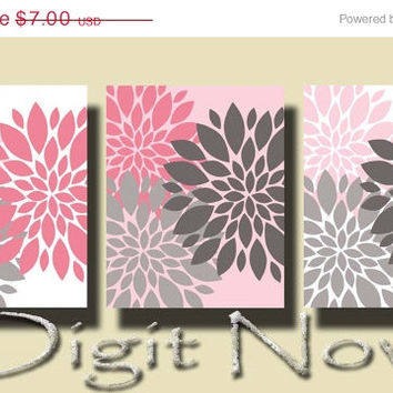 ON SALE 50 % PEONY Flowers Printable Instant Download Set of 3 Poster Home Decor  Wall Art Np010-12-14