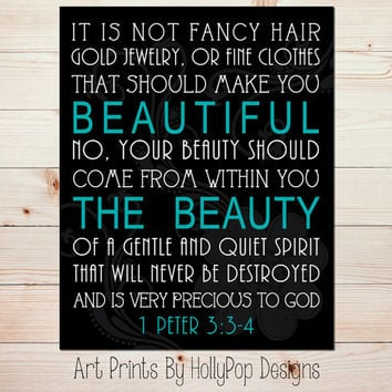Bible Verse Art Print Girls Room Wall Decor It is not Fancy Hair 1 Peter 3:3-4 Home Decor Tween Teen Girl Bedroom Art Black Turquoise #1029