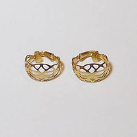 """Ornate Designed Small Clip On Hoop Earrings, Gold Tone, Cut Out, Filigree, 3/4"""", Lightweight, Never Worn, Vintage 80s, Costume Jewelry"""