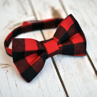 Little Guy Bow Tie - Lumberjack Buffalo Plaid Flannel Bow Tie - Red Black Plaid Bow Tie - Boys Infant Toddler Tie with Velcro Closure