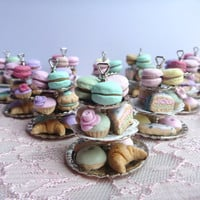 Miniature cake stand with polymer clay pastries