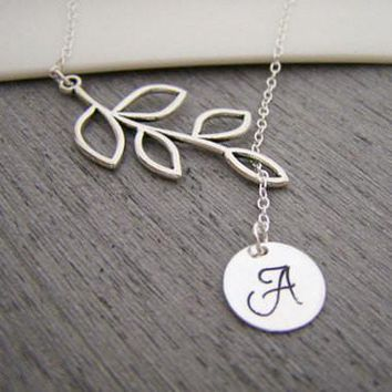 Branch Hand Stamped Initial Sterling Silver Lariat Style Bridesmaid Necklace